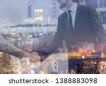 double exposure of businessman... | Shutterstock . vector #1388883098