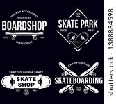 skateboarding labels badges set....   Shutterstock .eps vector #1388884598