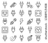 plug wire icons set. outline... | Shutterstock .eps vector #1388915408
