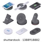 wireless charger icons set.... | Shutterstock .eps vector #1388918882