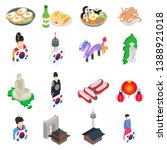 korea icons set. isometric set... | Shutterstock .eps vector #1388921018
