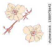 stylised flower of almond.... | Shutterstock .eps vector #1388978642