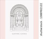 gothic gate. hand drawn sketch...   Shutterstock .eps vector #1388982122
