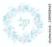 hand drawn floral frame with... | Shutterstock .eps vector #1389008465