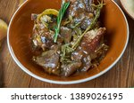 braised rabbit with belgian ale ...   Shutterstock . vector #1389026195