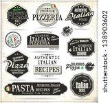 pizza retro labels | Shutterstock .eps vector #138903602