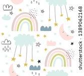 seamless cute pattern for kids  ... | Shutterstock .eps vector #1389062168