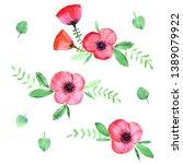 hand drawn watercolor flowers.... | Shutterstock . vector #1389079922