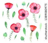 hand drawn watercolor flowers.... | Shutterstock . vector #1389080975