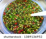 Stock photo thai food style top view of chilli and fish sauce in cup as a background prik nam pla is thai 1389136952