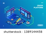 isometric notebook and... | Shutterstock .eps vector #1389144458