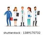 set of doctor and nurse cartoon ... | Shutterstock .eps vector #1389170732