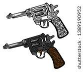 revolver with wooden handle in... | Shutterstock .eps vector #1389190952