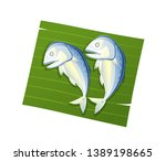 steamed mackerel on leaf banana ... | Shutterstock .eps vector #1389198665