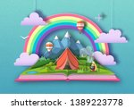 open fairy tale book with... | Shutterstock .eps vector #1389223778