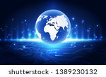 vector blue globe on the... | Shutterstock .eps vector #1389230132