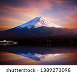 mount fuji san reflect at lake... | Shutterstock . vector #1389273098