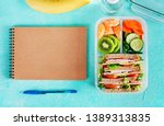 school lunch box with sandwich  ... | Shutterstock . vector #1389313835