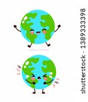 cute sad cry and happy earth... | Shutterstock .eps vector #1389333398