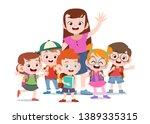 teacher with kids vector... | Shutterstock .eps vector #1389335315