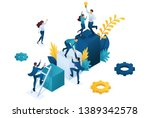isometric team success.... | Shutterstock .eps vector #1389342578