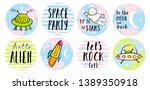 set of 8 round shape space... | Shutterstock .eps vector #1389350918