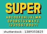 super hero font 3d effect... | Shutterstock .eps vector #1389353825