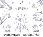 doodle applause. happy people... | Shutterstock .eps vector #1389360758