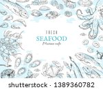 Hand Drawn Seafood Background....