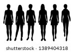 set of vector silhouettes woman ... | Shutterstock .eps vector #1389404318