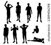 set vector silhouettes of men... | Shutterstock .eps vector #1389406298