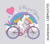 cartoon character unicorn with... | Shutterstock .eps vector #1389414755