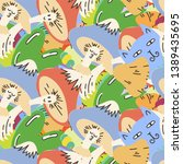 cute seamless forest pattern...   Shutterstock .eps vector #1389435695