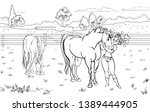 cartoon style girl with horse.... | Shutterstock .eps vector #1389444905