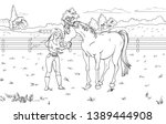 cartoon style girl with horse.... | Shutterstock .eps vector #1389444908