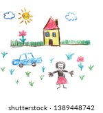 child drawing with welcoming... | Shutterstock .eps vector #1389448742