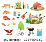 big vector picnic set. plates... | Shutterstock .eps vector #1389464162