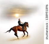 young men on the brown horse | Shutterstock . vector #138951896