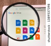 Small photo of Spokane, WA/USA -May 2019: Magnified view of Google Drive application. Google drive is a file storage & synchronization service created by Google that allows users to synchronize files across devices