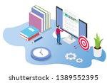 isometric 3d online exam or... | Shutterstock .eps vector #1389552395