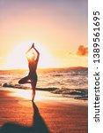 yoga wellness retreat class on... | Shutterstock . vector #1389561695