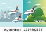 business people flying on a... | Shutterstock .eps vector #1389583895