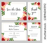wedding invitation template set ... | Shutterstock .eps vector #1389604592