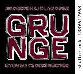 abstract grunge alphabet font.... | Shutterstock .eps vector #1389612968