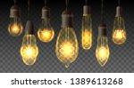 retro watt bulbs. steampunk... | Shutterstock .eps vector #1389613268