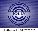 jolly badge with jean texture....   Shutterstock .eps vector #1389626732