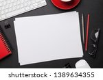 office workplace table with... | Shutterstock . vector #1389634355