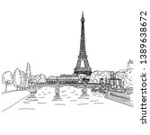 eiffel tower in paris with lamdscape vector illustration sketch doodle hand drawn with black lines isolated on white background