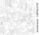 buildings city seamless pattern.... | Shutterstock .eps vector #1389661742