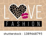 slogan love fashion with... | Shutterstock .eps vector #1389668795